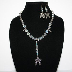 Blue and crystal butterfly necklace and earrings